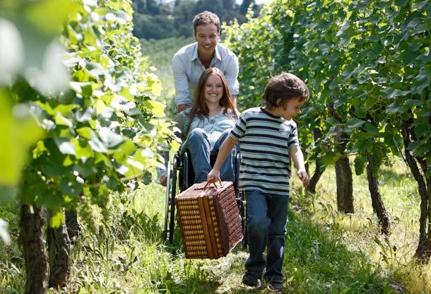 Mit dem Rollstuhl durch Weingärten