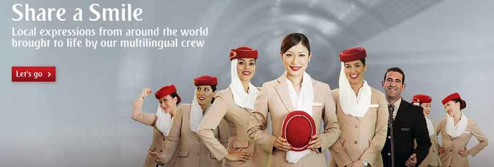 Share a Smile with Emirates-Crew: Und immer schön lächeln. Doch vielen Passagieren ist inzwischen das Lachen vergangen (Emirates)