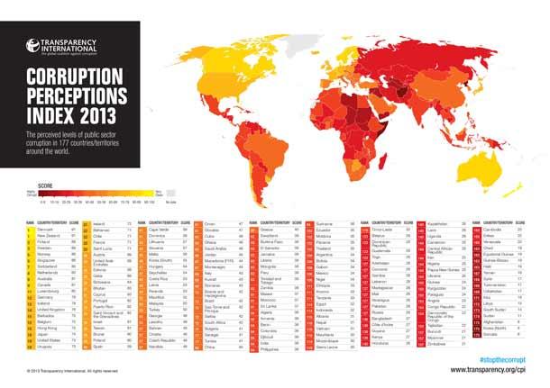 Korruption: Weltkarte zeigt, welche Länder korrupt sind