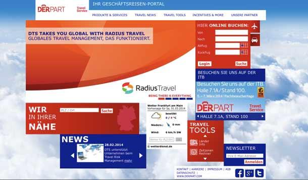 Webseite für Geschäftsreisen: Derpart Travel Service