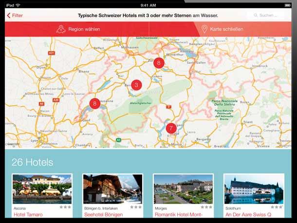 Schweiz Tourismus bietet Hotel-App