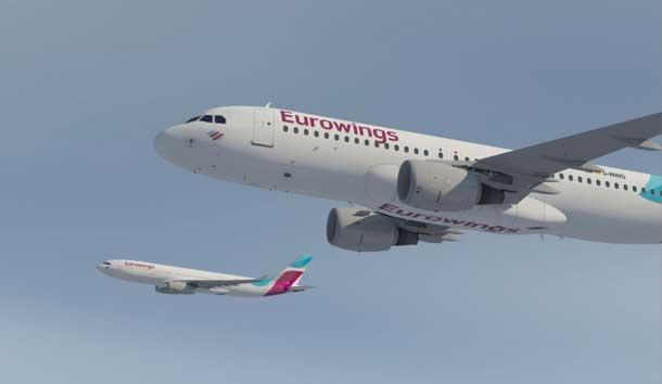 Eurowings Airbusse im Anflug
