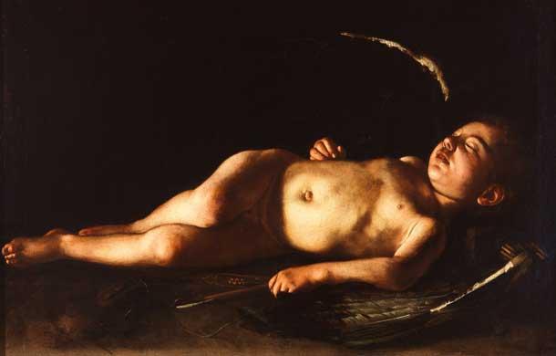 Schlafender Cupido von Michelangelo Merisi, genannt Caravaggio (1571-1610) um etwa. 1608 in Öl auf Leinwand gemalt (Foto: © Galleria Palatina, Florenz)