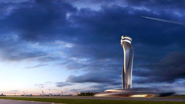 Ein riesiger Turm in Form einer Tulpe wird das neue Wahrzeichen des neuen Istanbul Flughafens sein (Visualisierung: IGA)