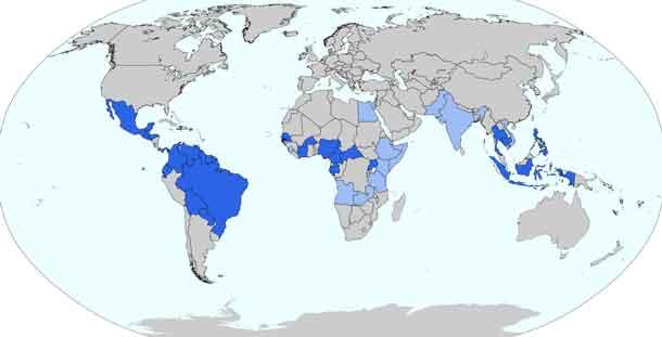 Länder, in denen Zika-Virus-Infektionen durch Stechmücken-Übertragung in der Vergangenheit aufgetreten sind (Stand: Januar 2016, Quelle Wikipedia/Furfur)