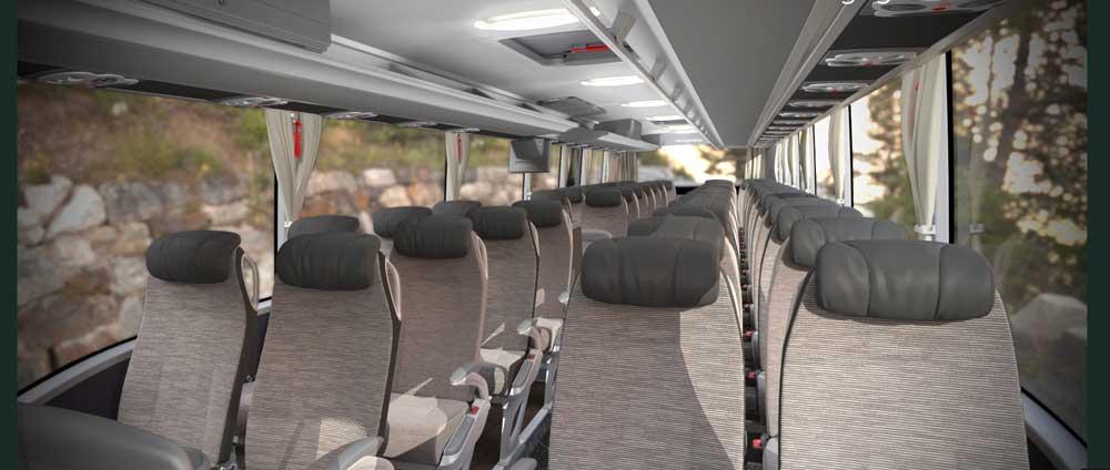 Bequem mit dem Fernbus reisen: Mehr Platz als in der Economy Class oder im Zug bieten die Mercedes-Busse von Hellö (Foto: ÖBB)Bequem mit dem Fernbus reisen: Mehr Platz als in der Economy Class oder im Zug bieten die Mercedes-Busse von Hellö (Foto: ÖBB)