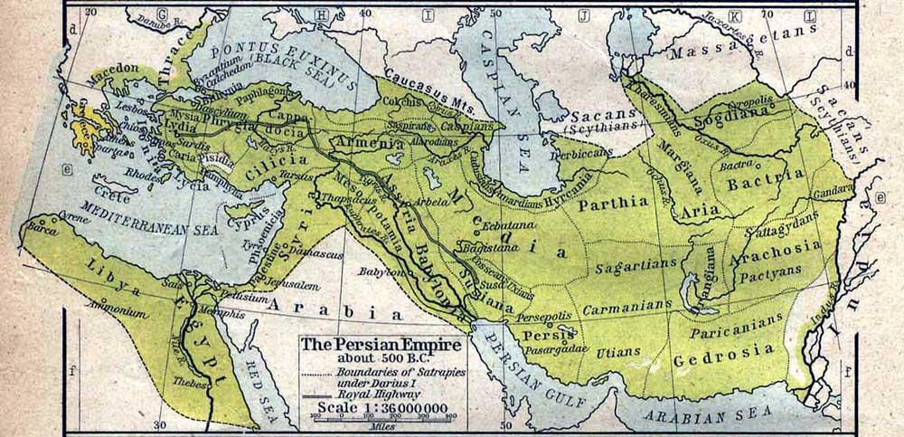Der Iran umfasst heute das historische Kernland des alten Persiens, das sich über ein (zeitweise deutlich) größeres Gebiet erstreckte. Noch bis ins 20. Jahrhundert wurde der Iran im offiziellen Sprachgebrauch Europas und Amerikas als Persien bezeichnet (Karte: William Shepherd, Historical Atlas, 1923)