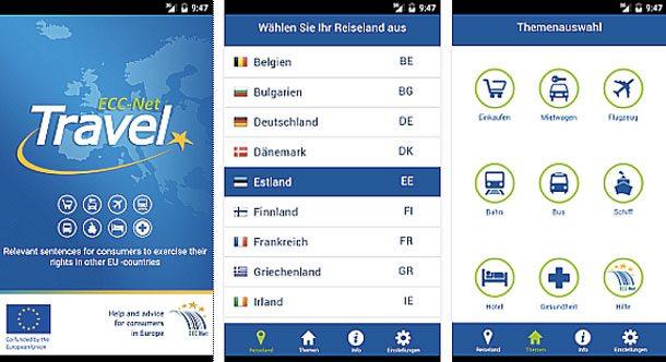 Mit dieser ECC Net-Travel-App finden Reisende in Europa bei Problemen Tipps und Ratschläge