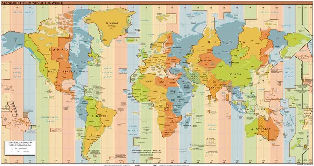 Hier ein Überblick der weltweiten Zeitzonen (Foto: Wikipedia)