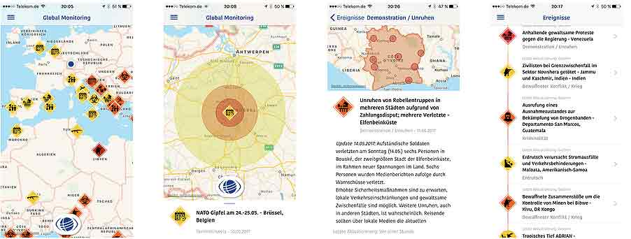 Innovative App für mehr Sicherheit von Geschäftsreisenden: Global einsetzbar, ortsbezogen und personalisiert, genau, zuverlässig und übersichtlich – ein Frühwarnsystem für Geschäftsreisende