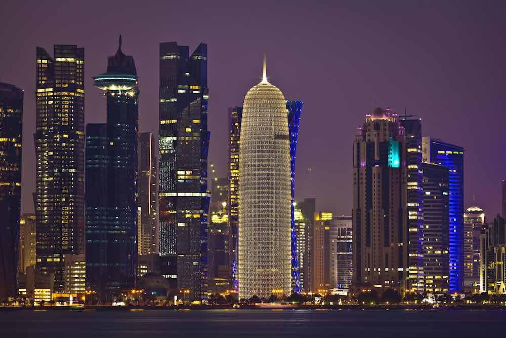 Skyline von Doha, der Hauptstadt des Emirats Qatar