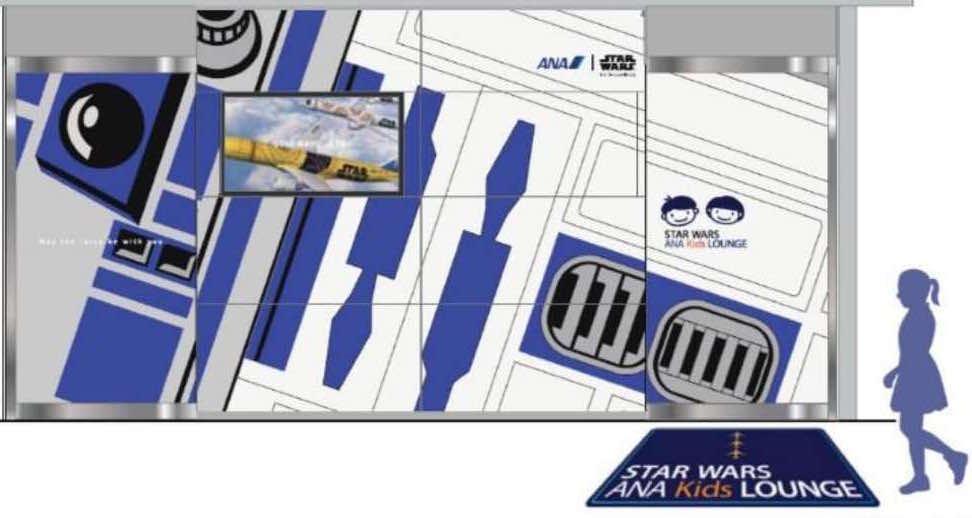 Die Star Wars-Bemalung einer ANA-Passagiermaschine als Vorlage für die ANA-Kids-Lounge am Flughafen Tokio