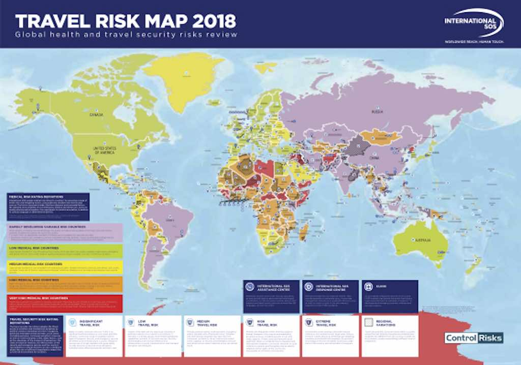 Interaktive Risiko Weltkarte Fur Geschaftsreisende Travelbusiness