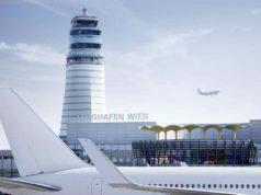 Ticketsteuer reduziert: Flughafen Wien mit Tower und Flugzeug