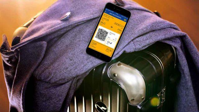 Lufthansa Check-in: Kofvfer mit Smartphone