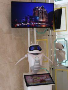 Roboter heißt die Gäste willkommen
