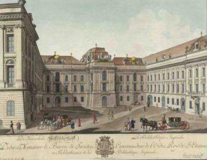 Kupferstich Josefsplatz mit Hofbibliothek