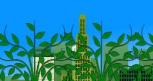 Grüne Hotels: Symbolische Grafik für Nachhaltigkeit