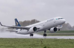 Start einer Maschine der Air Astana A321neo