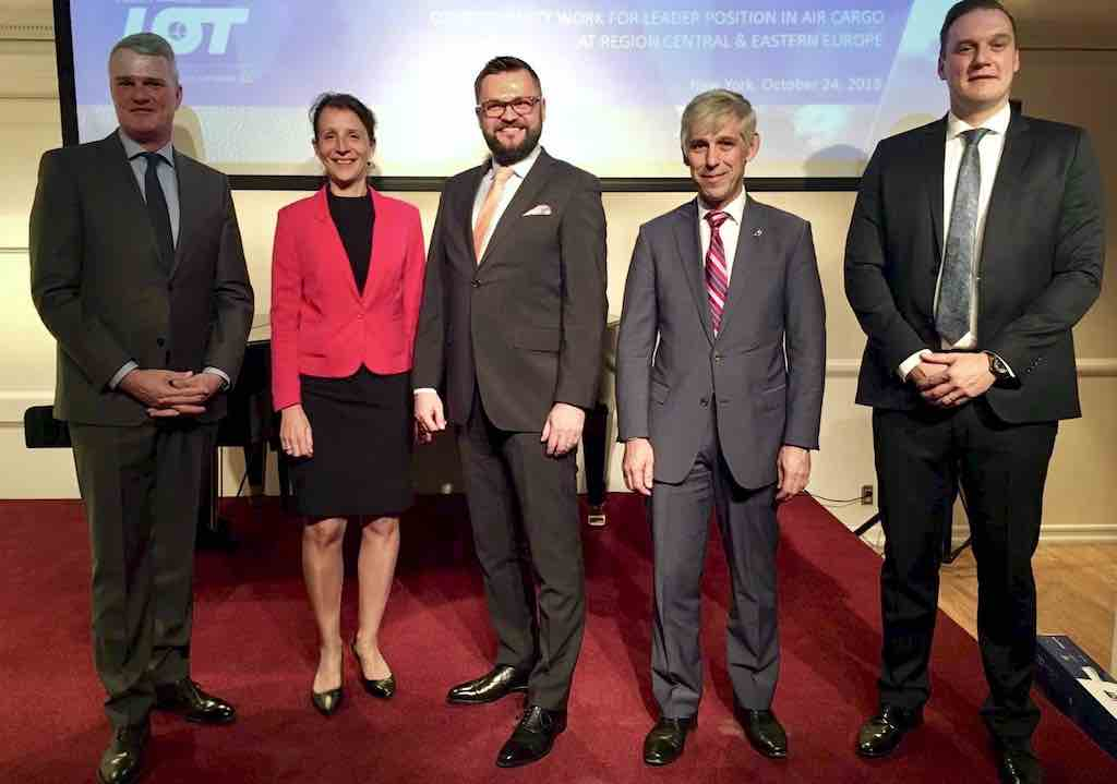René Droese, Director Business Unit Property and Cargo, Budapest Airport. Judit Czakó, Economic and Trade Commissioner, Consulate of Hungary in New York. Michal Grochowski, Cargo Director, LOT Polish Airlines. Marek Kasiak, Cargo Director for the Americas, LOT. József Kossuth, Senior Cargo Manager, Budapest Airport