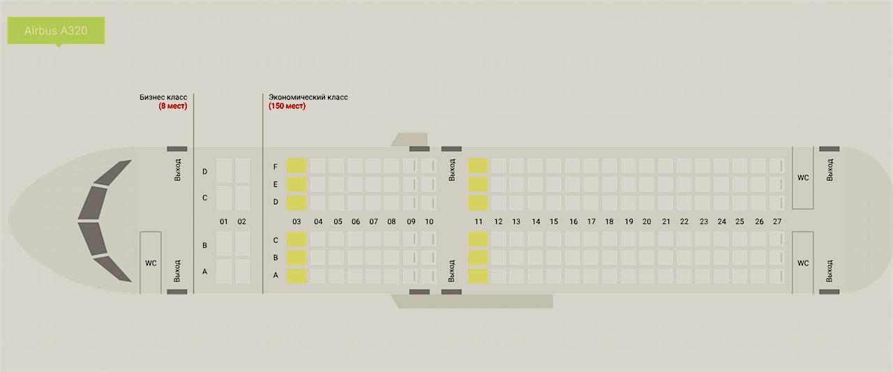 S7 Airlines bietet auf der Strecke Wien-Moskau im Airbus A320 acht breite Sitze in der Business Class und 150 Sitze in der Economy Class