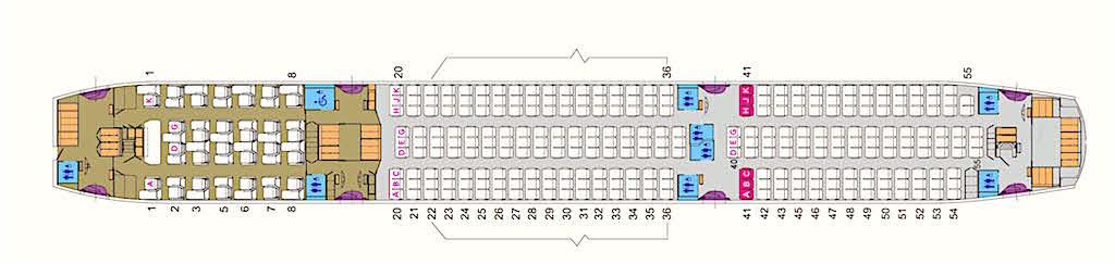 Der EVA Air Dreamliner mit viel Platz für alle Passagiere in beiden Klassen