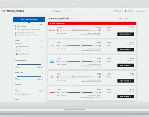 Das All-Inclusive-Tool von Lanes&Planes erleichtert Geschäftsreisenden das Buchen von Flügen und Hotels sowie die Abrechnung von Reisekosten