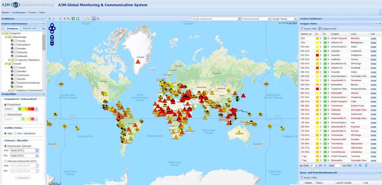 Das A3M Global Monitoring zeigt auf einen Blick, wo welche Sicherheitsrisiken herrschen