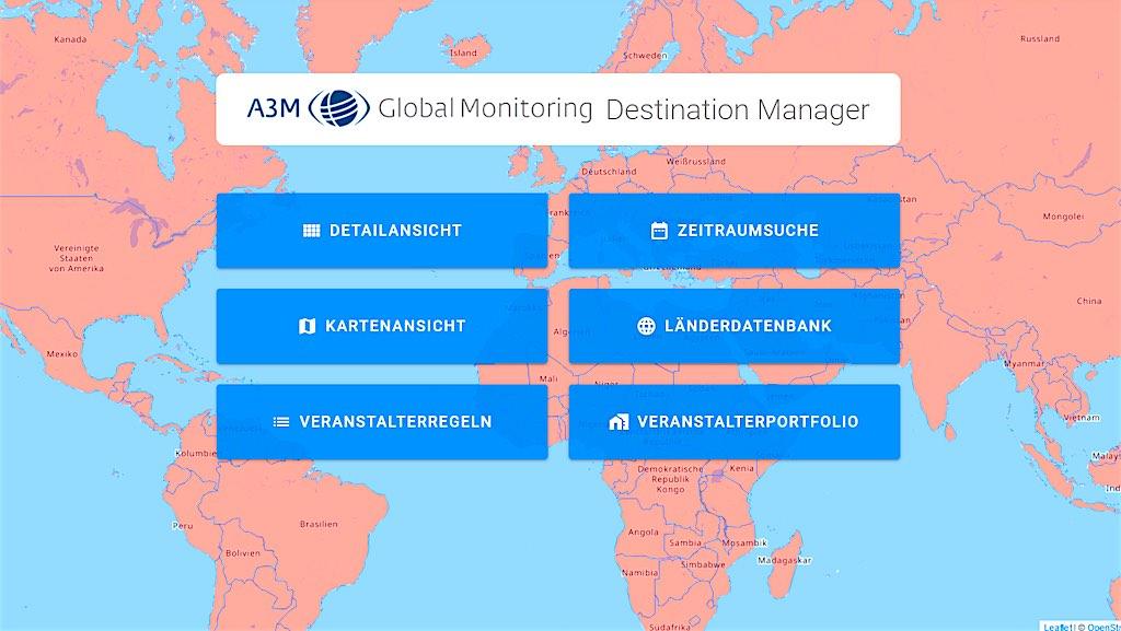 Der neue Destination Manager für Geschäftsreisende und Travel Manager bietet mehr Sicherheit bei der Planung von Dienstreisen (Foto: A3M)