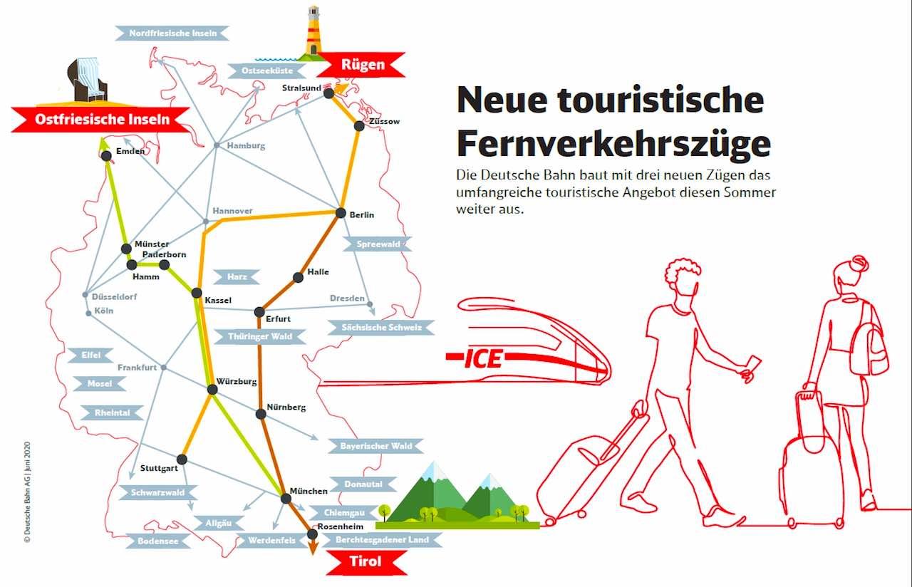 Neue ICE-Fernverkehrszüge bringen Reisende in die beliebtesten Urlaubsregionen (Grafik: DB)